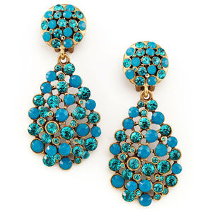 Oscar de la Renta Signed Multi-Stone Blue Earrings
